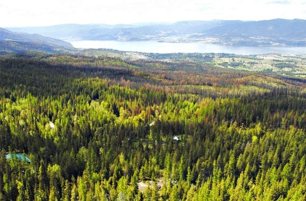 View from 80 acres listed by Domeij and Associates southeast Kelowna 4390 Ruth Road