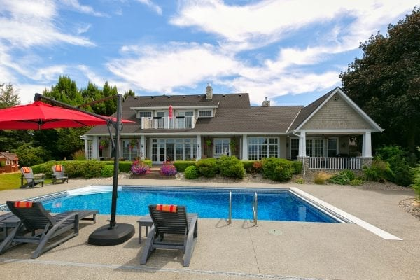 Rear house and pool view, 3678 Spiers Road Listed by Daomeij and Associates